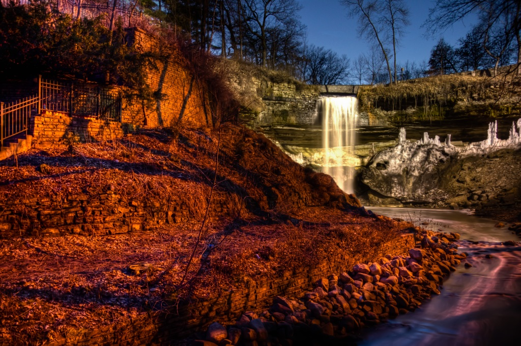 MInnehaha Falls at Night