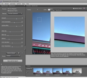 Contrast Optimizer, Strength slider, Lighting slider, Photomatix settings, fix smudges in Photomatix